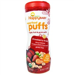 Nurture Inc. (Happy Baby), Organics Superfood Puffs, Finger Food, Strawberry & Beet, 2.1 oz (60 g)