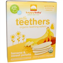 Nurture Inc. (Happy Baby), Gentle Teethers, Organic Teething Wafers, Banana & Sweet Potato, 12- (2 Packs), 0.14 oz (4 g) Each