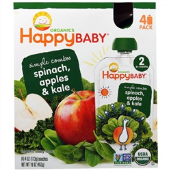 Nurture Inc. (Happy Baby), Organics Happybaby, Simple Combos, Spinach, Apples & Kale, Stage 2, 4 Pouches, 4 oz (113 g) Each