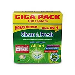 "Таблетки для ПММ ""Clean&Fresh  Allin1  (giga) 100 штук"