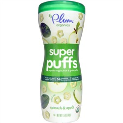 Plum Organics, Super Puffs, Organic Veggie, Fruit & Grain Puffs, Spinach & Apple, 1.5 oz (42 g)