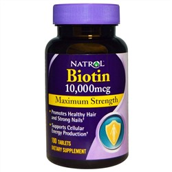 Natrol, Biotin, Maximum Strength, 10,000 mcg, 100 Tablets