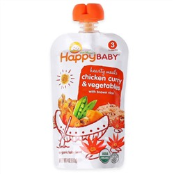 Nurture Inc. (Happy Baby), Organic Baby Food, Chicken Curry & Vegetables with Brown Rice, Stage 3, 7+ Months, 4 oz (113 g)