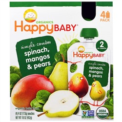 Nurture Inc. (Happy Baby), Organic Baby Food, Spinach, Mangos & Pears, 4 Pack - 4 oz (113 g)