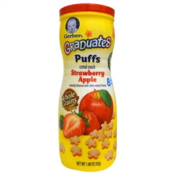 Gerber, Graduates, Puffs Cereal Snack, Strawberry Apple, 1.48 oz (42 g)