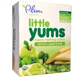 Plum Organics, Little Yums, Organic Teething Wafers, Spinach, Apple & Kale, 6 Packs, 0.5 oz (14.1 g) Each
