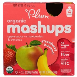 Plum Organics, Plum, Organic Mashups, Strawberry Banana, 4 Pouches, 3.17 oz (90 g) Each