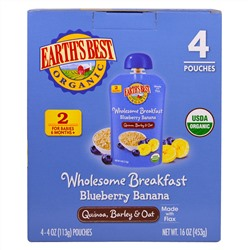 Earth's Best, Wholesome Breakfast, Blueberry Banana, Quinoa, Barley & Oat, 6 + Months, 4 Pack, 4 oz (113 g) Each