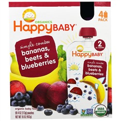 Nurture Inc. (Happy Baby), Organic Baby Food, Bananas, Beets & Blueberries, 4 Pouches - 4 oz (113 g) Each