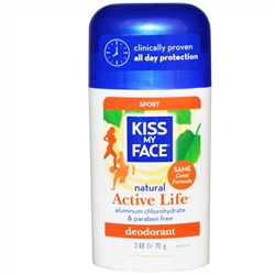 Kiss My Face, Active Life,  Sport Deodorant, 2.48 oz (70 g)