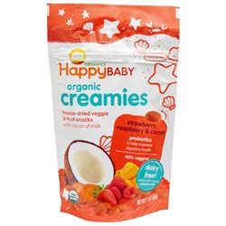 Nurture Inc. (Happy Baby), Organic Creamies, Freeze-Dried Veggie & Fruit Snacks, Strawberry, Raspberry & Carrot, 1 oz (28 g)