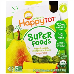Nurture Inc. (Happy Baby), Organic HappyTot, Super Foods, Organic Pears, Mango & Spinach + Super Chia, Stage 4, 4 Pack, 4.22 oz (120 g) Each