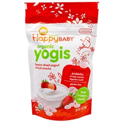 Nurture Inc. (Happy Baby), Organic Yogis, Freeze Dried Yogurt & Fruit Snacks, Strawberry, 1 oz (28 g)