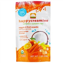 Nurture Inc. (Happy Baby), happycreamies, Veggie & Fruit Snacks, Carrot, Mango & Orange, 1 oz (28 g)