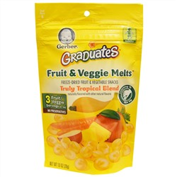 Gerber, Graduates, Fruit & Veggie Melts, Truly Tropical Blend, 1.0 oz (28 g)